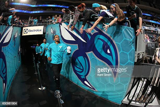Ramon Sessions of the Charlotte Hornets gets introduced before the game against the Oklahoma City Thunder on January 4 2017 at Spectrum Center in...