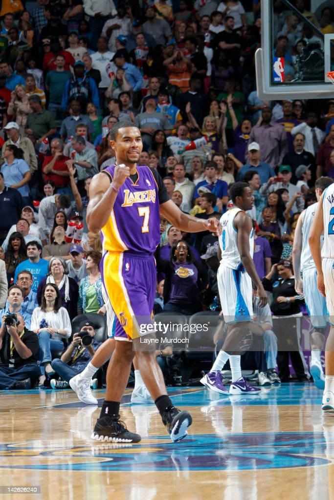 <a gi-track='captionPersonalityLinkClicked' href=/galleries/search?phrase=Ramon+Sessions&family=editorial&specificpeople=805440 ng-click='$event.stopPropagation()'>Ramon Sessions</a> #7 of the Los Angeles Lakers celebrates after defeating the New Orleans Hornets on April 9, 2012 at the New Orleans Arena in New Orleans, Louisiana.