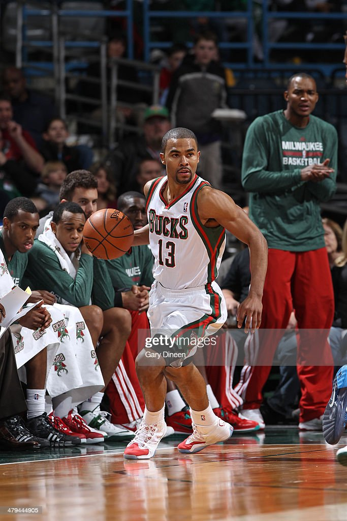 <a gi-track='captionPersonalityLinkClicked' href=/galleries/search?phrase=Ramon+Sessions&family=editorial&specificpeople=805440 ng-click='$event.stopPropagation()'>Ramon Sessions</a> #13 of the Milwaukee Bucks dribbles the ball against the Charlotte Bobcats on March 16, 2014 at the BMO Harris Bradley Center in Milwaukee, Wisconsin.