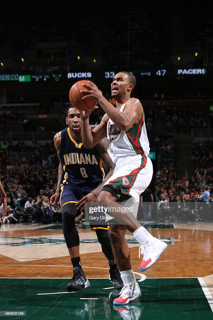 <a gi-track='captionPersonalityLinkClicked' href=/galleries/search?phrase=Ramon+Sessions&family=editorial&specificpeople=805440 ng-click='$event.stopPropagation()'>Ramon Sessions</a> #13 of the Milwaukee Bucks drives to the basket against the Indiana Pacers on February 22, 2014 at the BMO Harris Bradley Center in Milwaukee, Wisconsin.