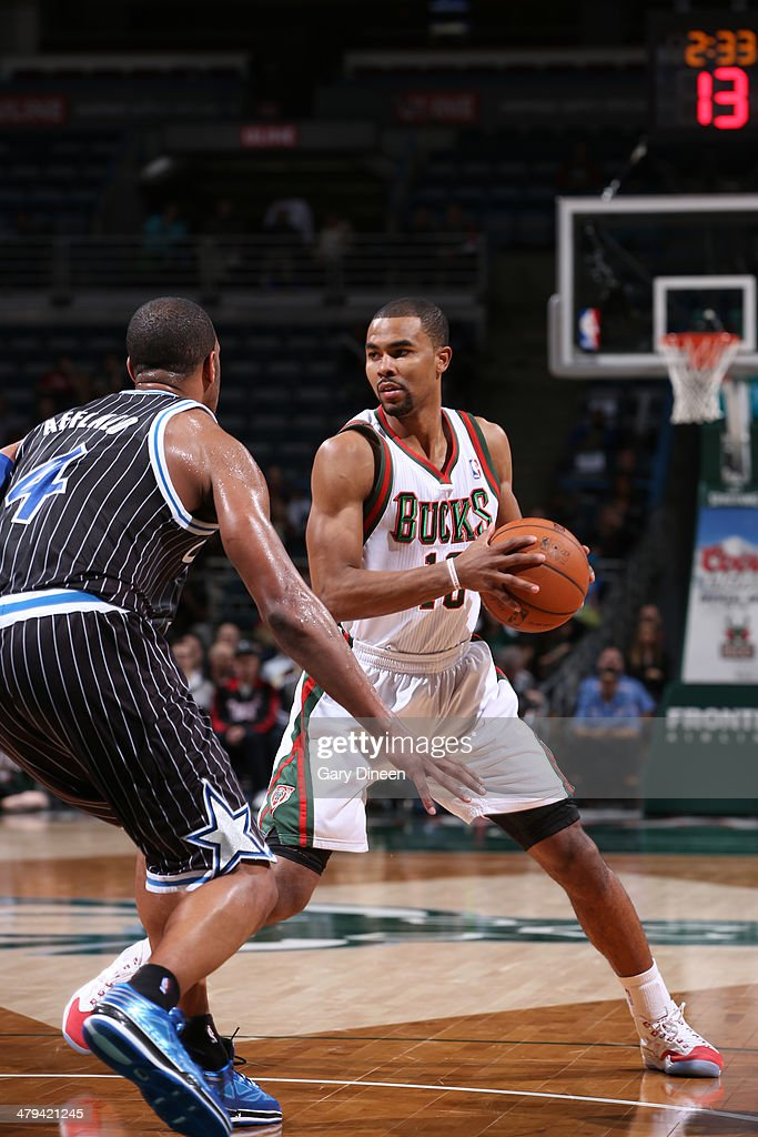 <a gi-track='captionPersonalityLinkClicked' href=/galleries/search?phrase=Ramon+Sessions&family=editorial&specificpeople=805440 ng-click='$event.stopPropagation()'>Ramon Sessions</a> #13 of the Milwaukee Bucks looks to make a play against the Orlando Magic on March 10, 2014 at the BMO Harris Bradley Center in Milwaukee, Wisconsin.