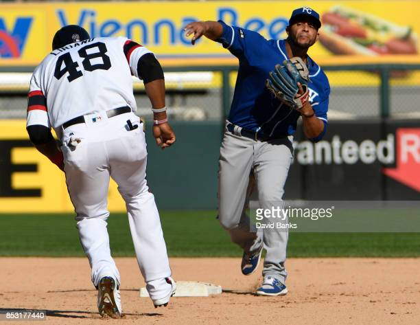 Ramon Torres of the Kansas City Royals forces out Rymer Liriano of the Chicago White Sox during the eighth inning on September 24 2017 at Guaranteed...
