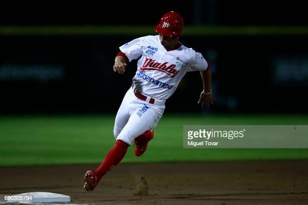 Ramon Urias of Diablos runs the third during the match between Generales and Diablos Rojos as part of the Liga Mexicana de Beisbol 2017 at Fray Nano...