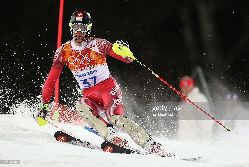 Ramon Zenhaeusern of Switzerland competes during the second run of the Men's Slalom on Day 15 of the Sochi 2014 Winter Olympics at Rosa Khutor Alpine Centre on February 22, 2014 in Sochi, Russia.