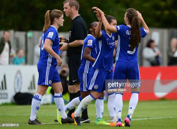Ramona Bachamnn of Chelsea celebrates with her team mates after scoring to make it 60 during the FA WSL 1 match between Chelsea Ladies and Yeovil...