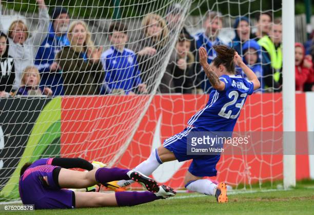 Ramona Bachamnn of Chelsea scores to make it 60 during the FA WSL 1 match between Chelsea Ladies and Yeovil Town Ladies at Wheatsheaf Park on April...