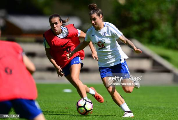 Ramona Bachmann and Magdalena Eriksson of Chelsea during a training session on August 25 2017 in Schladming Austria