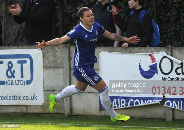 Ramona Bachmann celebrates after she equalizes to make it 11 during the Women's FA Cup Quarter Final between Chelsea and Sunderland on March 26 2017...
