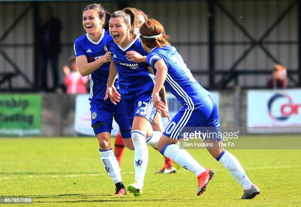 Ramona Bachmann of Chelsea celebrates after scoring her team's second goal of the game during the SSE FA Women's Cup Sixth Round match between...