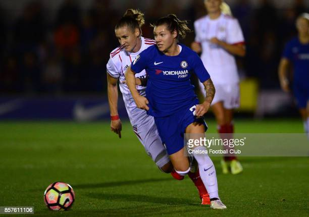 Ramona Bachmann of Chelsea during the UEFA Women's Champions League match between Chelsea ladies and Bayern Munich at The Cherry Red Records Stadium...