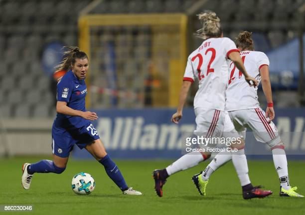 Ramona Bachmann of Chelsea FC kicks the ball during the Champions League round of 32 second leg match between FC Bayern Muenchen and Chelsea FC on...