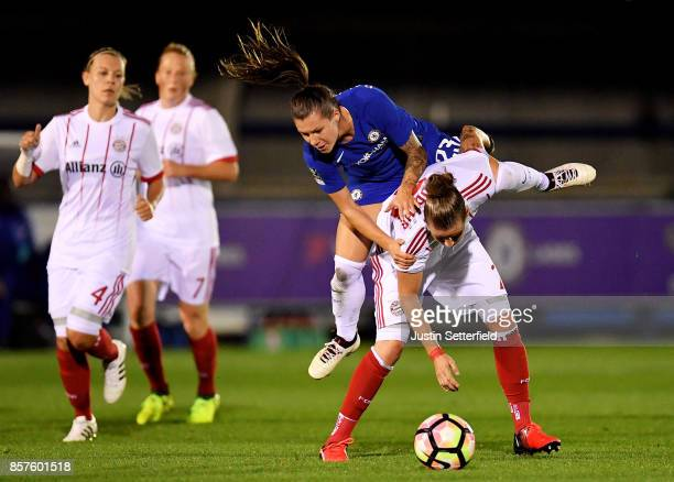 Ramona Bachmann of Chelsea Ladies and Simone Laudehr of Bayern Munich in action during the UEFA Womens Champions League Round of 32 First Leg match...