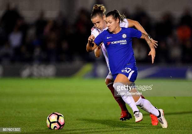 Ramona Bachmann of Chelsea Ladies in action during the UEFA Womens Champions League Round of 32 First Leg match between Chelsea Ladies and Bayern...