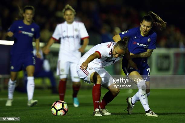 Ramona Bachmann of Chlesea Ladies challenges Gina Lewandowski of Bayern Munich during the UEFA Womens Champions League Round of 32 First Leg match...