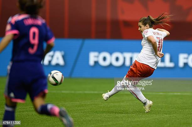 Ramona Bachmann of Switzerland blasts the ball over the bar in the last minute during the FIFA Women's World Cup 2015 Group C match between Japan and...