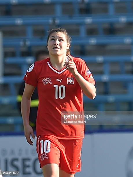 Ramona Bachmann of Switzerland celebrates after scoring the goal 20 during the UEFA Women's Euro 2017 Qualifier between Italy and Switzerland at Dino...