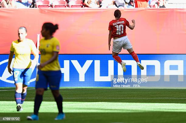 Ramona Bachmann of Switzerland celebrates her second goal during the FIFA Women's World Cup 2015 Group C match between Switzerland and Ecuador at BC...