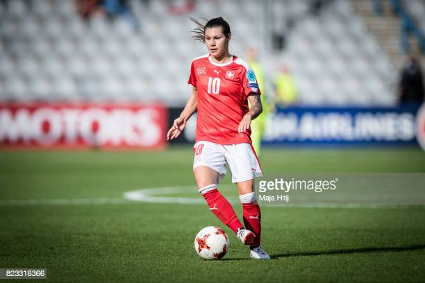 Ramona Bachmann of Switzerland controls the ball during the UEFA Women's Euro 2017 Group C match between Iceland and Switzerland at Stadion De...