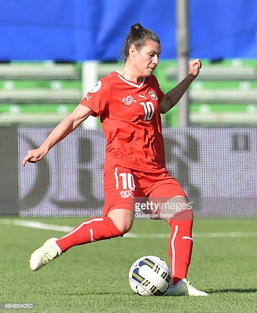 Ramona Bachmann of Switzerland in action during the UEFA Women's Euro 2017 Qualifier between Italy and Switzerland at Dino Manuzzi Stadium on October...