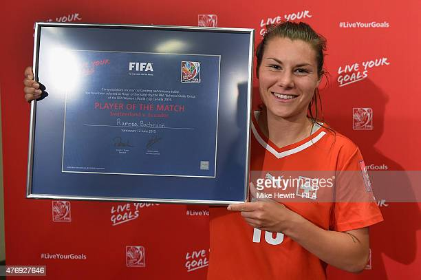 Ramona Bachmann of Switzerland is awarded the Player of the Match after the FIFA Women's World Cup 2015 Group C match between Switzerland and Ecuador...