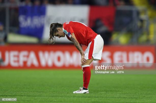 Ramona Bachmann of Switzerland looks dejected after they are knocked out during the UEFA Women's Euro 2017 Group C match between Switzerland and...