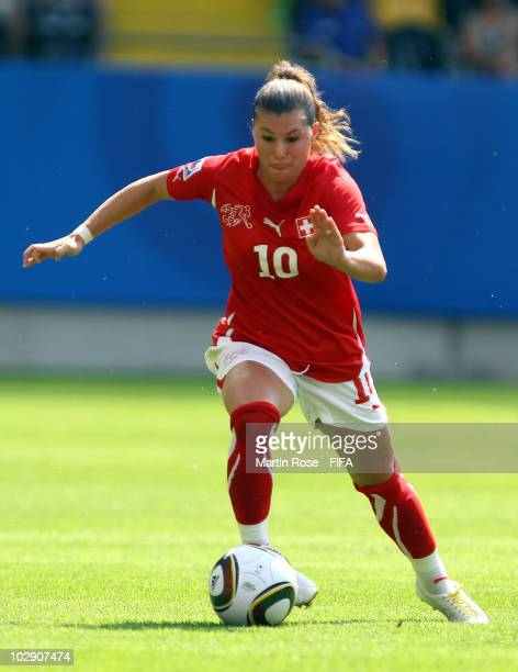Ramona Bachmann of Switzerland runs with the ball during the 2010 FIFA Women's World Cup Group D match between Switzerland and South Korea at the...