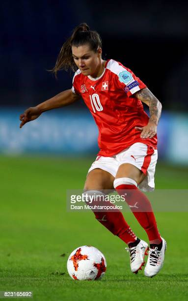 Ramona Bachmann of Switzerland runs with the ball during the Group C match between Switzerland and France during the UEFA Women's Euro 2017 at Rat...