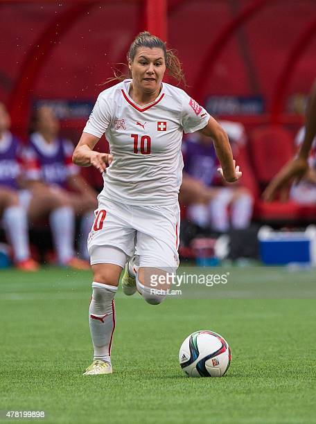 Ramona Bachmann of Switzerland runs with the the ball during the FIFA Women's World Cup Canada 2015 Round of 16 match between Switzerland and Canada...