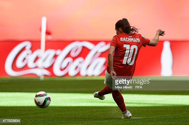 Ramona Bachmann of Switzerland scores from the penalty spotl during the FIFA Women's World Cup 2015 Group C match between Switzerland and Ecuador at...