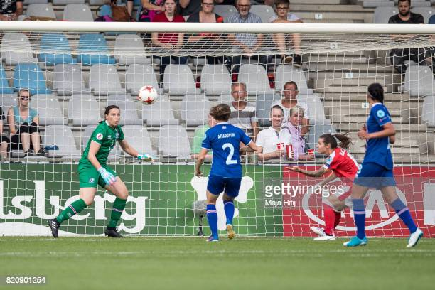 Ramona Bachmann of Switzerland scores her sides second goal during the UEFA Women's Euro 2017 Group C match between Iceland and Switzerland at...