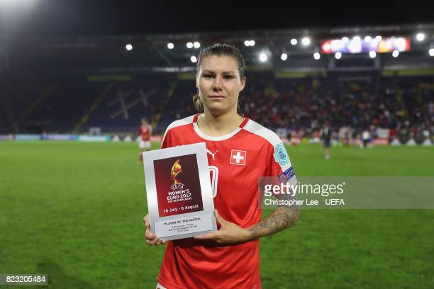 Ramona Bachmann of Switzerland with her Player of the Match award during the UEFA Women's Euro 2017 Group C match between Switzerland and France at...