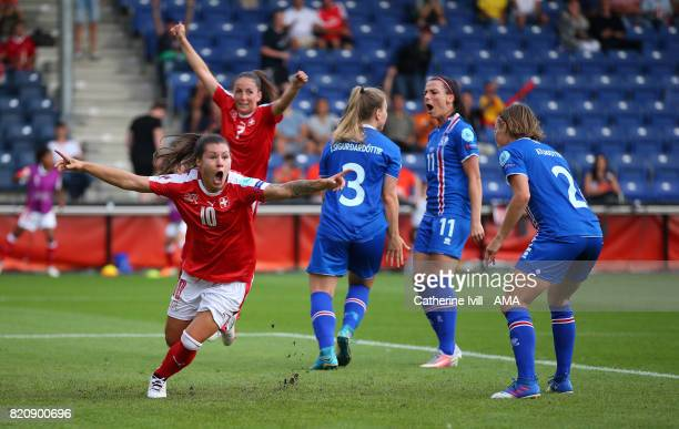 Ramona Bachmann of Switzerland Women celebrates after she scores a goal to make it 12 during the UEFA Women's Euro 2017 match between Iceland and...