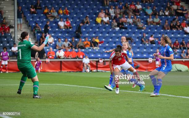 Ramona Bachmann of Switzerland Women scores a goal to make it 12 during the UEFA Women's Euro 2017 match between Iceland and Switzerland at Stadion...