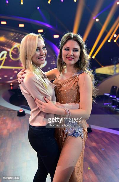 Ramona Drews and Joelina Drews pose after the fith show of the television competition 'Stepping Out' on October 9 2015 in Cologne Germany