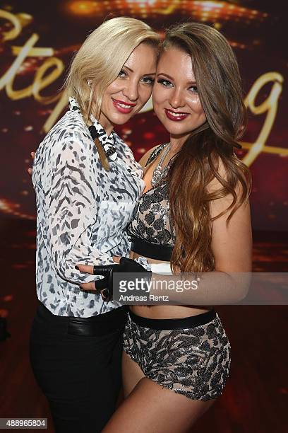 Ramona Drews and Joelina Drews smile during the second show of the television competition 'Stepping Out' on September 18 2015 in Cologne Germany