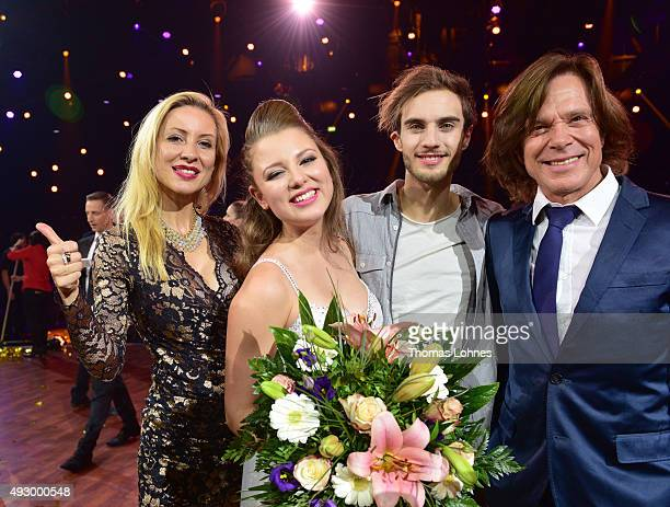 Ramona Drews and Juergen Drews pose with Joelina Drews and Marc Aurel ZeebÊafter the final show of the television competition 'Stepping Out' on...