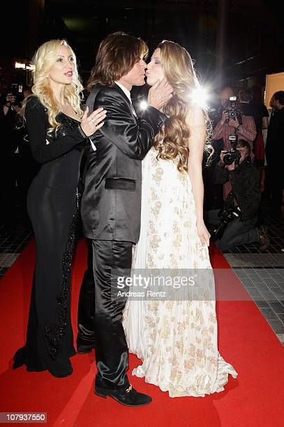 Ramona Drews singer Juergen Drews and their daughter and singer Joelina Drews arrive at the Berlin Press Ball 2011 at the Ullstein hall on January 8...