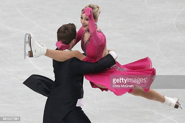 Ramona Elsener and Florian Roost of Switzerland compete in the Ice Dance Short Dance during ISU World Figure Skating Championships at Saitama Super...