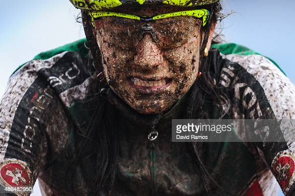 Ramona Forchini of Switzerland celebrates as she wins the Women's Under 23 CrossCountry Olympic race on day 4 of the UCI Mountain Bike Trials World...