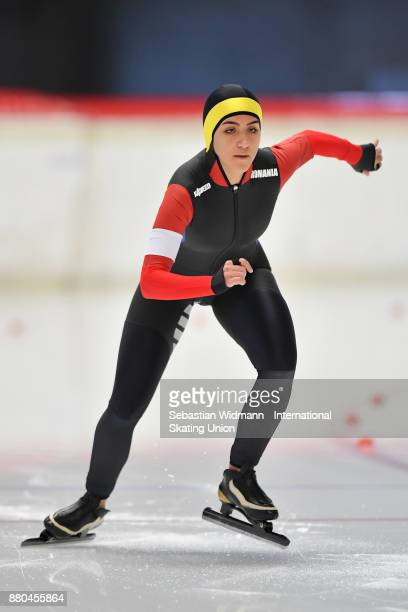 Ramona Ionel of Romania performs during the Ladies 500 Meter at the ISU Junior World Cup Speed Skating at Max Aicher Arena on November 26 2017 in...