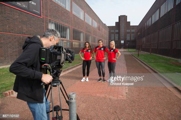Ramona Petzelberger Lisa Weiss and Ina Lehmann during a general view behind the scenes of the Allianz Frauen Bundesliga Club Tour of of SGS Essen at...