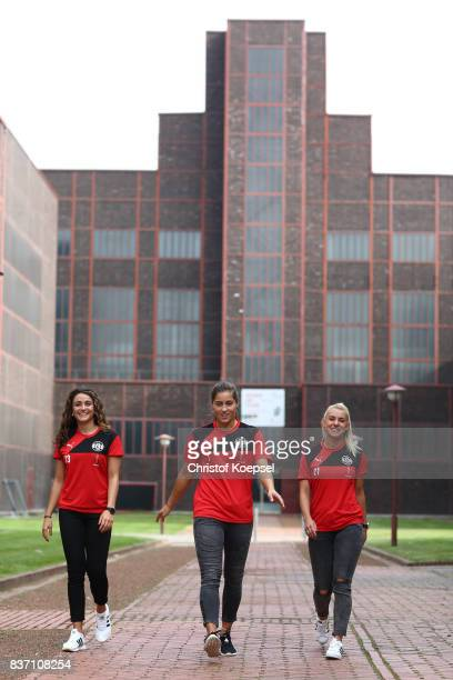 Ramona Petzelberger Lisa Weiss and Linda Dallmann during a general view behind the scenes of the Allianz Frauen Bundesliga Club Tour of of SGS Essen...