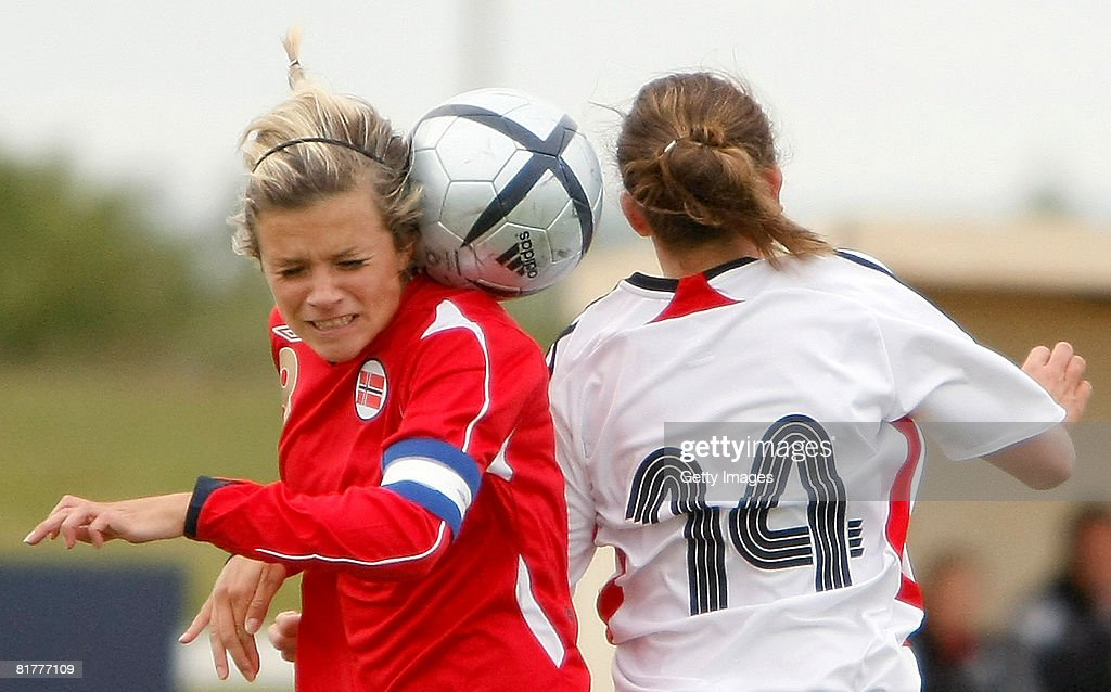 Ramona Petzelberger (R) of Germany fights for the ball with Cathrine Dekkerhus of Norway during the U16 Nordic Cup match between Norway and Germany at the Hvolsvollur stadium on June 30, 2008 in Hvolsvoellur, Iceland.