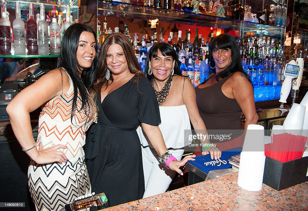 Ramona Rizzo, Karen Gravano, <a gi-track='captionPersonalityLinkClicked' href=/galleries/search?phrase=Renee+Graziano&family=editorial&specificpeople=7643222 ng-click='$event.stopPropagation()'>Renee Graziano</a>, and Angela '<a gi-track='captionPersonalityLinkClicked' href=/galleries/search?phrase=Big+Ang&family=editorial&specificpeople=8749866 ng-click='$event.stopPropagation()'>Big Ang</a>' Raiola at Drunken Monkey on July 22, 2012 in New York City.