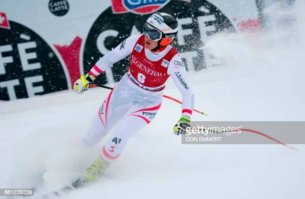 Ramona Siebenhofer of Austria finishes her training for the FIS Ski World Cup Women's Downhill November 28 2017 in Lake Louise Alberta / AFP PHOTO /...