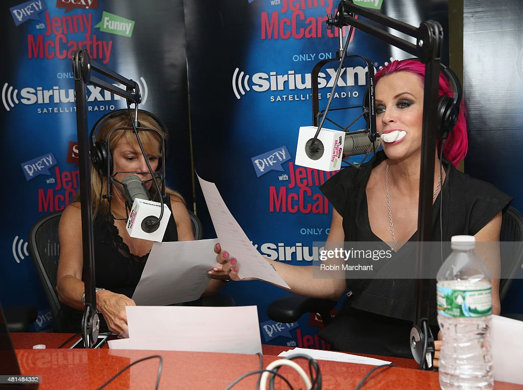 Ramona Singer (L) with host Jenny McCarthy on the set of 'Dirty, Sexy, Funny with Jenny McCarthy at SiriusXM Studios on July 21, 2015 in New York City.