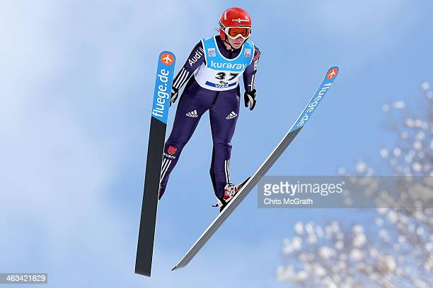 Ramona Straub of Germany competes in the Normal Hill Individual 1st round during the FIS Women's Ski Jumping World Cup Zao at Zao Jump Stadium on...