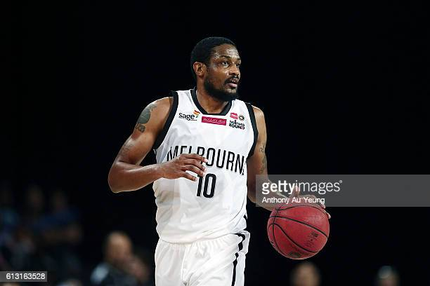 Ramone Moore of Melbourne in action during the round one NBL match between the New Zealand Breakers and Melbourne United at Vector Arena on October 7...
