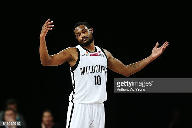 Ramone Moore of Melbourne reacts during the round one NBL match between the New Zealand Breakers and Melbourne United at Vector Arena on October 7...