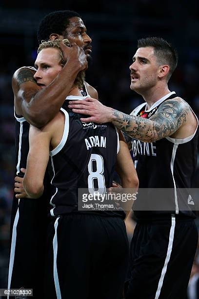 Ramone Moore of Melbourne United celebrates with Kyle Adnam of Melbourne United during the round five NBL match between Melbourne United and the New...